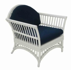 Buy Hayman Alfresco White Rattan Armchair with Blue Cushions Online in NSW