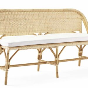 Buy Luxe Mykonos Bench - Natural with white cushion online in NSW