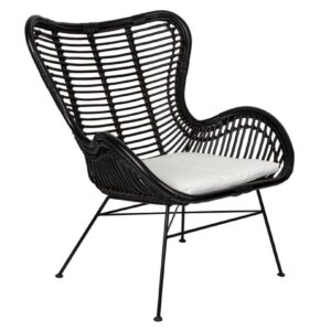 Buy Bellvue Hill Wing Chair Back Chair With Cushion Black Online in NSW